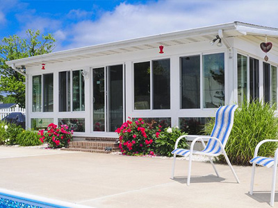Enclosed Porch by Swimming Pool